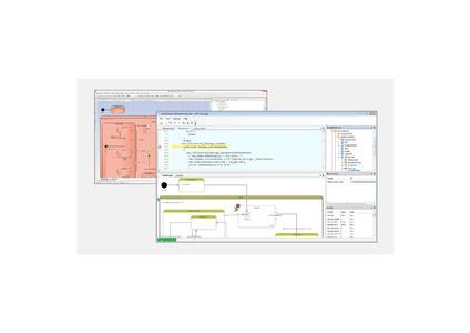 LieberLieber Embedded Engineer 2.0: Code Generierung und UML Debugging auf Basis von Enterprise Architect Modellen. Im Hintergrund ist ein Zustandsautomat zu sehen, der in Enterprise Architect modelliert wurde. Im Vordergrund erkennt man den UML Debugger aus Embedded Engineer 2.0 in Aktion