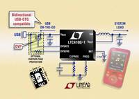 Switching Power Manager with USB On-The-Go & Overvoltage Protection in a Compact 12mm2 Footprint