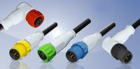 M12x1 connectors overmoulded with colored plastic coupling elements