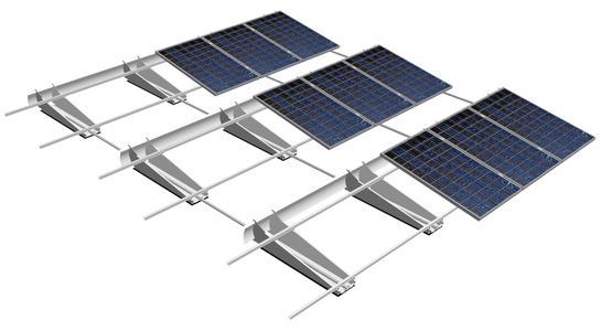 Das TRIC F box System Ost/West Ausrichtung ermöglicht bis zu 95 % Dachflächennutzung
