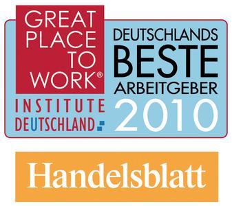 VELUX erhielt als eines von nur 100 Unternehmen die Auszeichnung Deutschlands beste Arbeitgeber 2010., Logo: Great Place to Work Institute