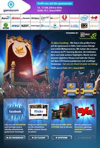 Die gamescom 2014 in Köln wird mit Caseking, einzigartigen Produkten, Live-Shows, Messe-Girls, Cosplay-Event und Gaming auf King Mod Systemen zum Wahnsinns-Erlebnis!