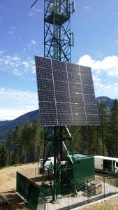 Calzavara's radio base station is powered by solar modules with an EFOY Pro 12000 fuel cell as back up power source