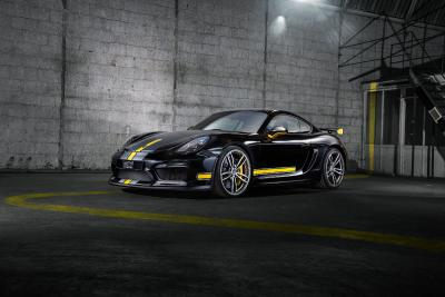 For a powerful presence: TECHART Formula IV alloy wheels in new dimensions for the Porsche Cayman GT4 and the Porsche Panamera models