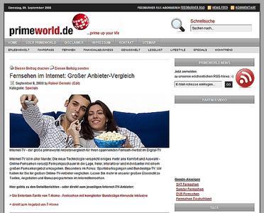 """primeworld.de startet großes Special zum Thema """"Fernsehen via Internet"""""""