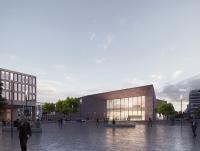 Der Entwurf für das Heidelberg Convention Center stammt von den Baseler Architekten Degelo. Ende März fiel der Startschuss für die Bauarbeiten. Rendering: Degelo Architekten, Basel