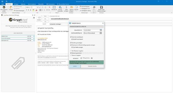 Mit Cryptshare for Outlook 2016 eine verschlüsselte der E-Mail versenden