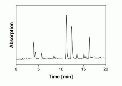 Abb. 5 RP-Chromatogramm von Catechinen in einem Grüntee-Extrakt.