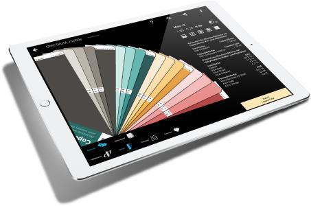 Mit dem interaktiven Farbtonfächer blättert der User kinderleicht die Machbarkeiten, Hellbezugswerte und Mischverhältnisse durch. Abbildung: Caparol Farben Lacke Bautenschutz