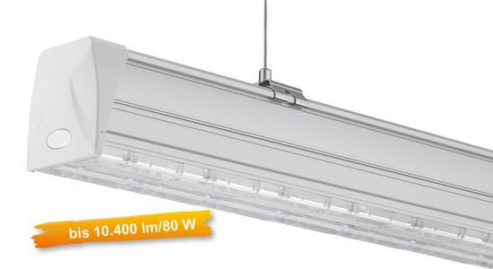 LED Lichtband-Komplettsystem mit Systemleistung von 130 Lumen/Watt, dimm- und steuerbar
