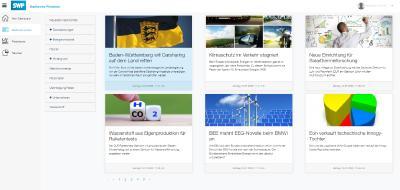 Mit Übersicht und Durchblick: Der Newsbereich bietet interessante (Fach-)Artikel zu vielen energiewirtschaftlichen Themen und hilft Ihnen, den Markt noch besser zu verstehen. (Bild: Screenshot SWP E-Portal)