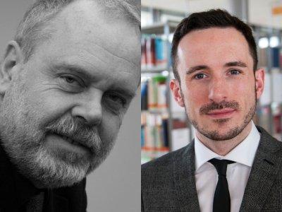 Günter Bentele (links) und Felix Krebber haben das Center for History and Corporate Communication gegründet. (Fotoquelle: Universität Leipzig / Hochschule Pforzheim)