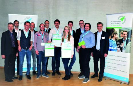 Die Sieger im Businessplan Wettbewerb Schwaben 2019: Planstack, Skytala und Bersabee. Foto: ZD.B. / BayStartUP