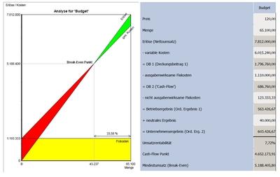 Darstellungen erleichtern den Anwendern häufig das Verständnis - hier eine Break-even-Analyse aus dem Bau financials-MIS