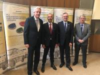 """Von links: Dr. Thomas Kathöfer, Werner Loscheider, Prof. Hans-Werner Zoch, Dr. Hans-Joachim Wieland bei der Abschlussveranstaltung des IGF-Forschungsverbundes """"Massiver Leichtbau"""""""