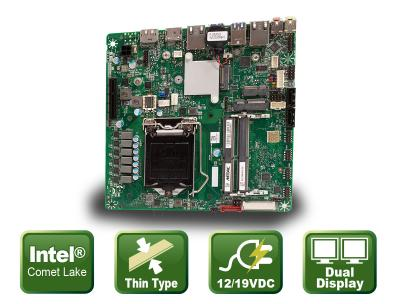 Flat Mini ITX motherboard for Comet Lake processors