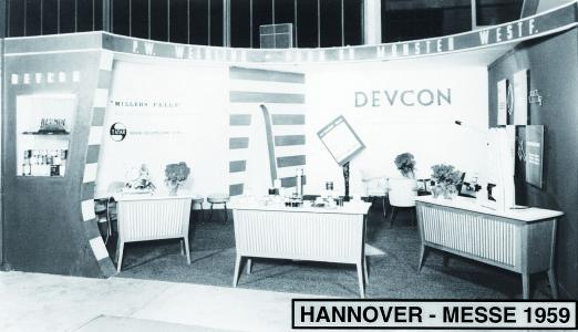 Der WEICON-Stand auf der Hannover Messe 1959 (damals noch unter dem Firmennamen P.W. Weidling und Sohn)