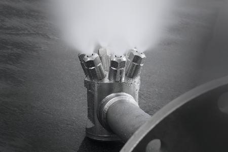 Spray eines Multiple-Nozzle-Head mit externer Mischung