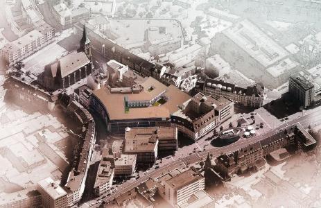 Luftansicht des Einkaufszentrums © Ingenieurbüro T. Erdmann