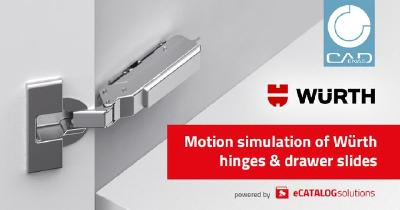 Digital Twins for furniture construction: Würth provides access to BIM motion simulation for hinges & drawer slides in collaboration with CADENAS