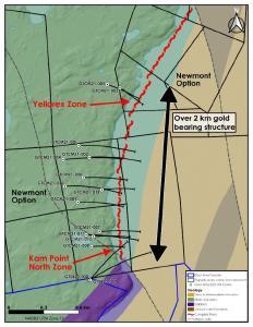 Bohrlöcher und auf die Oberfläche projizierte Standorte der Yellorex und Kam Point North Zone