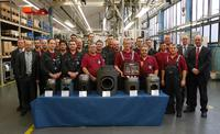 KS Kolbenschmidt GmbH's large-bore piston plant team is proud of the Caterpillar award