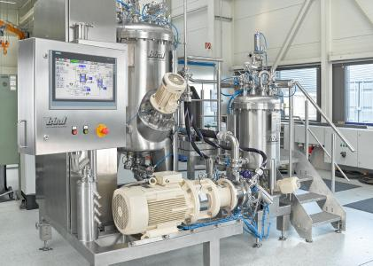 YSTRAL process plant for the production of an water-based paint and polishing solution