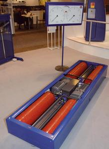 Complete unit of the MAHA Roller Brake Tester MBT 2100. Here with analogue display on pedestal