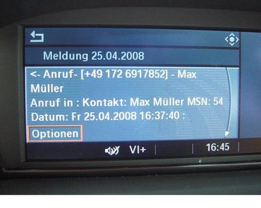 Meldung zum eingehenden Anruf durch den Car-Messenger