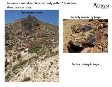 Abbildung 4 zeigt die Widerstandsfähigkeit der Brekzienkörper, die die Gold- und Silberoxidmineralisierungskörper im Zielgebiet Tacora beherbergen