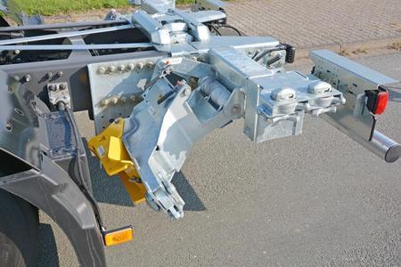Die hintere Höhenverstellung in niedrigster Position 0 mm (Foto: © Renault Trucks, SDG Modultechnik)