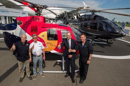 From Left to right: Rainer Wilke (BO105 pilot Flying Bulls), Harald Reiter (CEO Flying Bulls), Wolfgang Schoder (CEO Airbus Helicopters Germany) and Volker Bau (Chief Test Pilot, Airbus Helicopters). © Copyright Charles Abarr