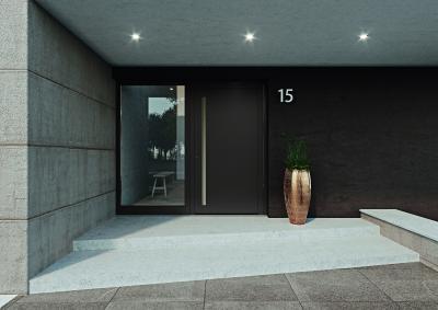 heroal propose pour la première fois une porte d'entrée avec panneau – avec le système de porte heroal D 72 et en parfaite combinaison avec les nuances d'excellente qualité Les Couleurs® Le Corbusier / © heroal