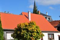 Metalldächer sind kaum von herkömmlichen Ziegeldächern zu unterscheiden. Foto: LUXMETALL