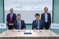 The joint development agreement was signed by Mr. James Tang, Delta´s VP and GM of its Electric Vehicle Solutions Business Group (2nd from right), and Mr. Hannes Prenn, COO of GKN Automotive´s ePowertrain business (2nd from left).  Mr. Simon Chang, Delta´s COO (1st from right) and Mr. Liam Butterworth, GKN Automotive´s CEO (1st from left), led the ceremony