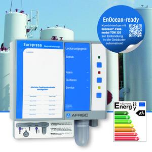 The Europress leak detector is designed for monitoring all suitable double-walled tanks for the unpressurised storage of water-polluting liquids. An optional wireless module allows for connection to an EnOcean centre. In the case of an alarm, a message is sent to the smart phone of the operator so that appropriate action can be taken immediately