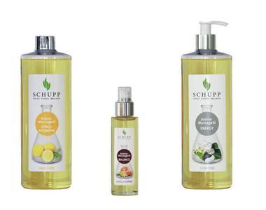 Schupp hat sein Sortiment der Aroma-Massageöle aus rein pflanzlichen Grundstoffen neu designt.