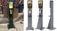 Digital Signage DS Desinfect Stele - Multi Touch Display & Desinfektionsspender