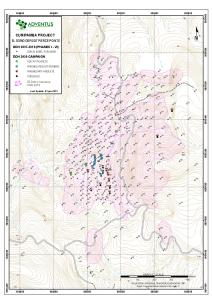 Drill Collar Location Map for Drill Holes at El Domo in News Release 21-01