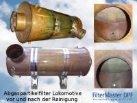 Abgaspartikelfilter einer Lokomotive vor und nach der Reinigung mit FilterMaster