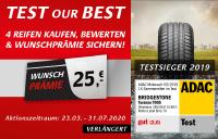 "Bridgestone Endverbraucheraktion ""TEST OUR BEST"" 2020"