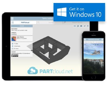 Now you can upload and share 3D CAD models with the PARTcloud.net app also for Windows 10
