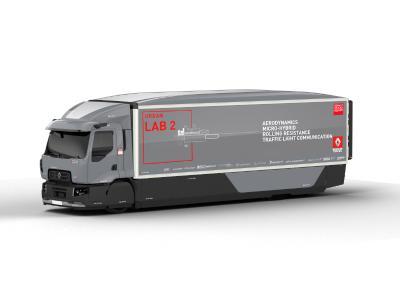 """Das Versuchsfahrzeug """"Urban Lab 2"""" von Renault Trucks kombiniert zahlreiche Innovationen aus den Bereichen Aerodynamik, Hybrid-Technologie, Bereifung und Konnektivität"""