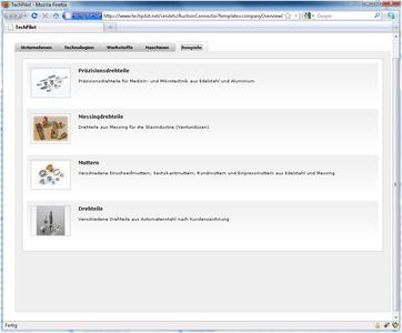 Fertigungskompetenz in Bildern: Musterteile und Produktbeispiele in der `virtuellen Vitrine´ von TechPilot
