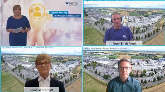 Virtuelle Verleihung des Rehabilitationspreises der BG ETEM: von links oben: Marina Hesse-Spötter, BG ETEM; Peter-Erich Friedl, Reinhild Schmidt, Ronny Erdmann, Hydro Aluminium Rolled Products GmbH