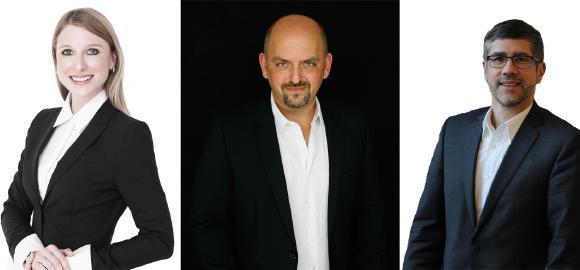 Julia Krönlein (33) Head of Marketing; Christian Blazekovic (44) Leiter Brand&Communication; Stefan Lamp (51) Produkt-Marketing Manager