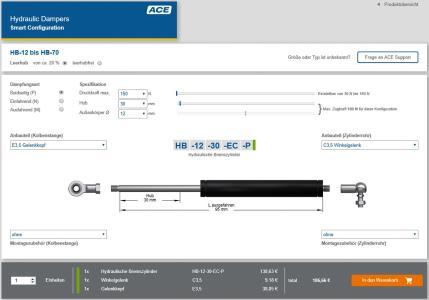 Unter www.ace-ace.de/de/berechnungen/bremszylinder-konfigurator.html können Anwender nun rund um die Uhr ACE Ölbremsen und hydraulische Bremszylinder online konfigurieren und im ACE Online-Shop bestellen / Bildnachweis: ACE Stoßdämpfer Gmb