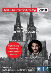 9. GmbH-Geschäftsführer-Tag am 25.04.2018 in Köln