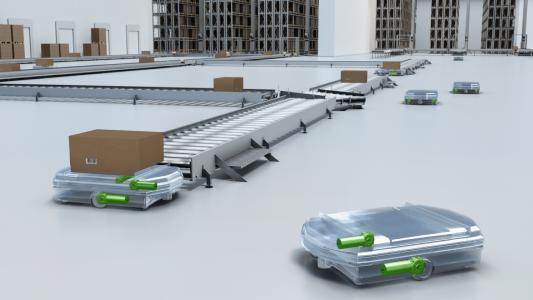 Fahrerlose Transportsysteme sorgen dank Antrieben von ebm-papst für einen flexiblen und zuverlässigen Warenfluss. (Bild: ebm-papst)