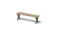 Bisley FORTIS Desking - Sitzbank Natural mit natürlicher Baumkante, SX Gestell